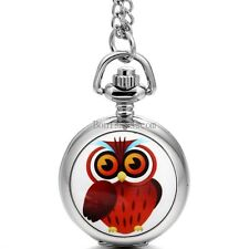 Colorful Owl Pattern Silver Tone Round Pocket Quartz Watch Pendant Necklace Gift