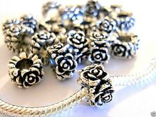 20 X European Charm Bead Lot Antique Silver, fits bracelet Ships from USA E18