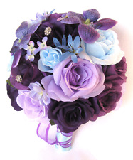 Wedding Bouquet 17 piece package Bridal Silk Flowers PURPLE Light BLUE LAVENDER