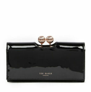 New Ted Baker London Bobble Matinee Patent Leather Wallet Clutch Black $149