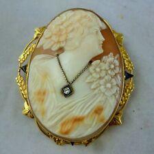 14K Sapphire and Diamond Shell Cameo Pendant Brooch Pin