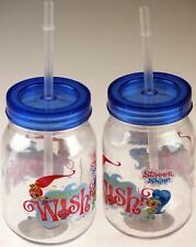 Set Of 2 Shimmer And Shine Drinking Mason Jam Jar Beaker With Straw