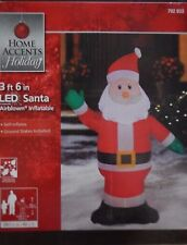 Gemmy SANTA 3 ft 6in Tall LED Airblown Inflatable Lights Up, NEW Home accents