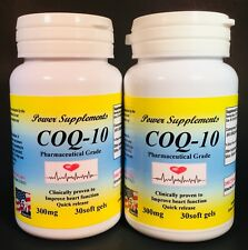 Coq-10, ubiquinone 300mg, co-enzyme, anti-aging.Made in USA - 60(2x30) soft gels