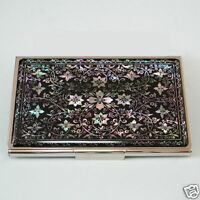 Mother of Pearl Metal Business Credit Name Wallet ID Debit Mini Card Holder Case