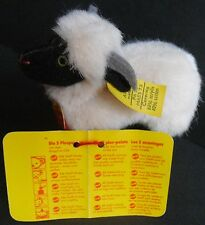 "STEIFF ""SNUCKI"" BLACK & WHITE SHEEP  STEIFF BUTTON WITH ALL TAGS 4""  New"