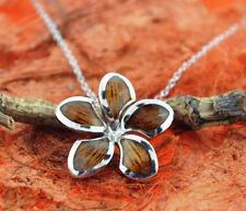 Koa Wood Plumeria Pendant- Sterling Silver- Hawaiian,Cute,Flower,Girl 's Fashion