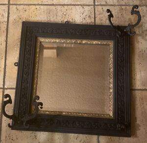 Antique c.1880s Painted Wood Beveled Mirror & Hat Coat Rack With 2 Hooks
