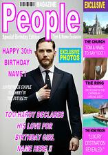 """Tom Hardy, A5 Revista """"estilo"""" Personalizado Cumpleaños Tarjeta cualquier nombre / Edad!!"""