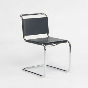 2021 Marcel Breuer for Knoll Spoleto B33 Black Leather and Chrome Dining Chair
