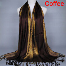 Womens Tassel Pashmina Glitter Long Hijab Scarf Shawl Wrap Stole Scarves 3C