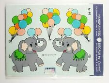 1983 Decorcal Handpainted Decals Elephant And Balloons