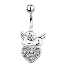 Stainless Steel Belly Ring with an Angel Sitting on Stone Heart