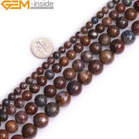 "Natural AA Grade Gemstone Brown Pietersite Round Beads 15"" DIY 6mm 8mm 10mm 12mm"
