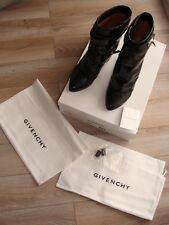 100% Givenchy Shark Lock Eel Skin Leather Mid Calf Wedge Boot, Black, Size 8
