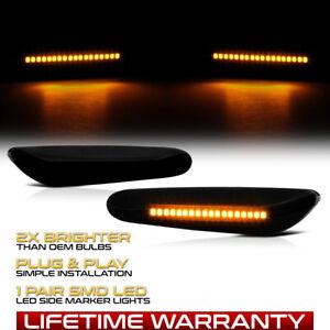 """""""SMOKE LENS"""" BMW E82 E88 E90 E92 LED Side Marker Light Signal Blinker Lamp Pair"""