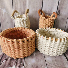 Coral / White Round Chunky Knit Woven Rope Storage Container Egg Basket Planter