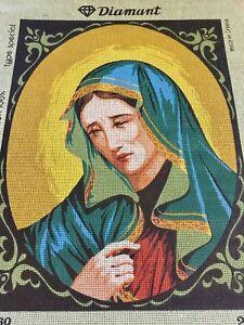 VINTAGE Unworked DIAMANT TAPESTRY CANVAS Greece RELIGIOUS Madonna CATHOLIC
