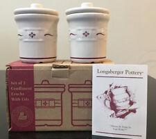 Longaberger Set of 2 Condiment Crocks With Lids Heritage Red Pottery Nib