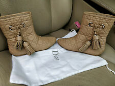 Christian Dior Cannage Quilted Lambskin Leather Boots Flat Shearling Lined Beige