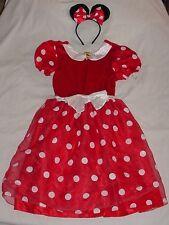 EUC Disney Store MINNIE MOUSE Red Dot Dress Up Costume & Headband Sz 10/12