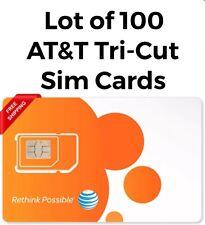 Lot Of 100 At&T Att Triple Cut 3 in 1 Card 4G Lte Sim Cards - New