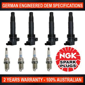 4x NGK Spark Plugs & 4x Swan Ignition Coils for Hyundai Sonata NF for Kia Rondo