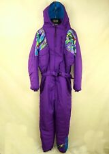 VINTAGE RETRO MENS PADDED HOODED SKI SUIT ONE PIECE size L, XL ALL IN ONE