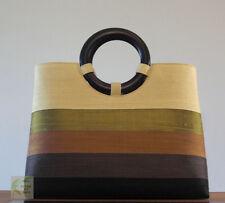 Thai Silk handbag (beige/olive green/brown/black stripes)