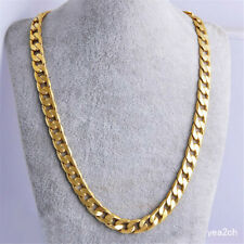 "24"" Men's Boy Stainless Steel Necklace 18K Gold Filled Curb Cuban Chain Jewelry"