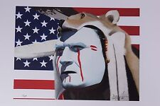 Native American wolf head dress painted face limited edition print - Paul Jones