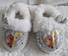 Girls DISNEY Princess Slippers Size S 5/6 Med  White Fur Silver Glitter Bows