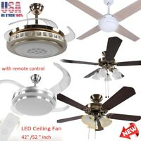 """42'' 52"""" Retractable Dimmable LED Chandelier Ceiling Fan Light w/ Remote Control"""