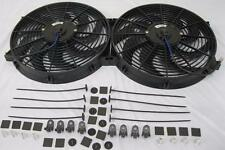 """Dual 14"""" Universal Curved S-Blade Electric Radiator Cooling Fans w/ Mounting Kit"""
