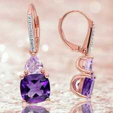 18K Rose Gold Plated Pear Purple Amethyst Dangle Drop Earrings for Women Jewelry