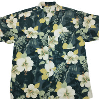 Tommy Bahama Men's Medium Black Silk Hawaiian Aloha Button Up Shirt Relax Beach