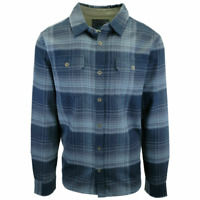 prAna Men's All Blue Plaid L/S Flannel Shirt (S03)