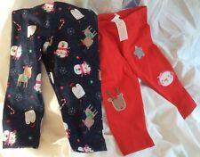 Trousers x 2 Pairs.  Blue & Red.  Winter Print.  Age 3-6 Months.  NEW!!