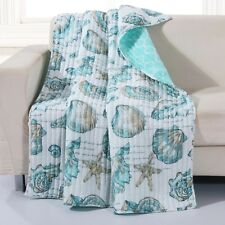 Coastal Bedding Quilted Throw Blanket Cover Blue Shells Starfish Beach House