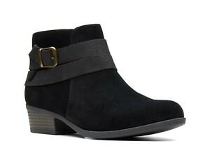 NEW WOMEN CLARKS ADDIY CORA BLACK SUEDE ZIPPER MEDIUM OR WIDE ANKLE LOW BOOTS