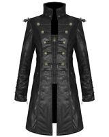 Punk Rave Mens Steampunk Jacket Coat Black Goth Punk Faux Leather Military
