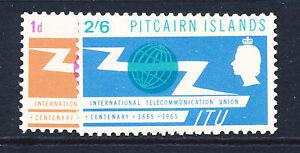PITCAIRN ISLANDS 1965 I.T.U. CENTENARY SG49/50  MNH