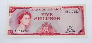 1960 Bank of Jamaica 5 Shillings Note XF+ Condition Pick #49