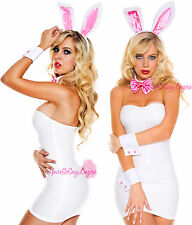 Sexy WHITE BUNNY COSTUME Set Ears Headband FLUFFY TAIL CUFFS Bow Tie Playboy