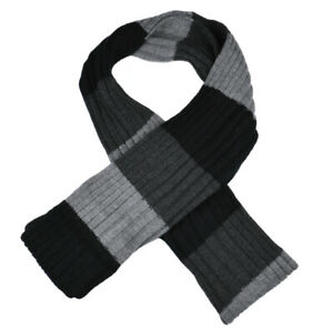 Adults Mens Womens Black And Grey Striped Winter Scarf