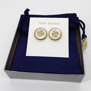 Tory Burch Semiprecious Gold Mother of Pearl Stud Earrings w/ card & pouch