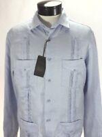 Guayabera TASSO ELBA Sky Blue Cuban Shirt 4 Pockets 100% Linen Mens M $79.50