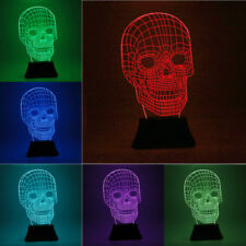 3D Skull LED RGB Desk Lamp Table Multicolor USB Battery Illusion Light UK