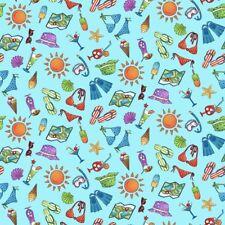 Road Trip 2140-17 Henry Glass Co. by the 1/2 yard Bikinis Sun Drinks Flipflops