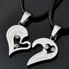 1pair Fashion Puzzle Heart Stainless Steel Pendant Necklaces Couple Lovers